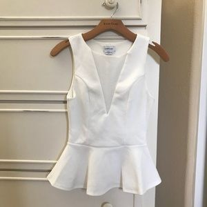 Bebe white Peplum Top XS